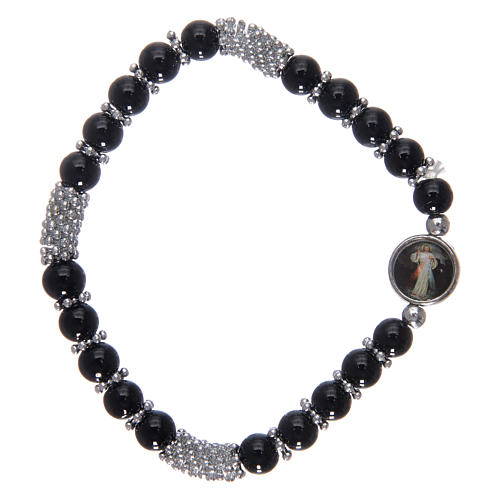 Bracciale rosario in cristallo nero a molla 2
