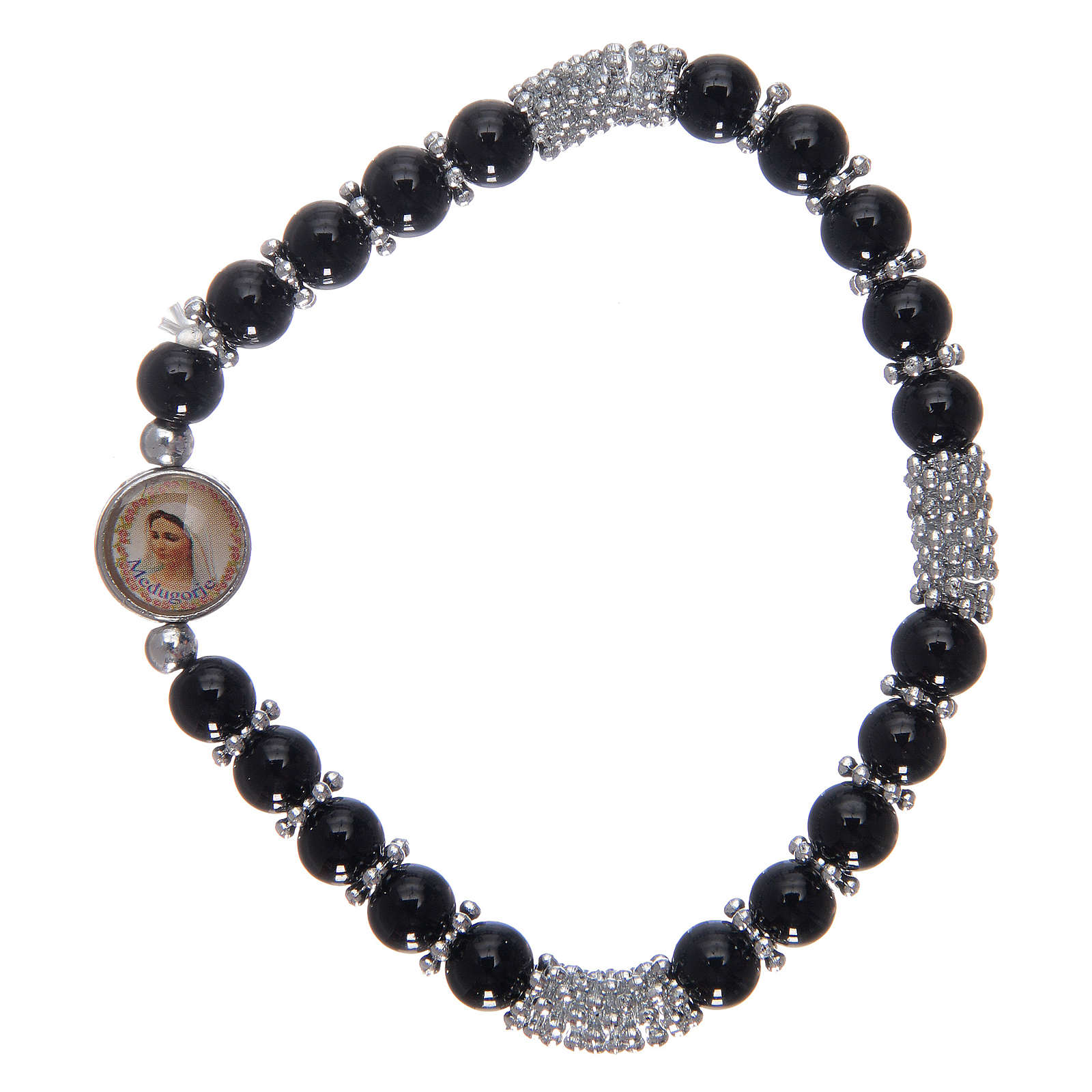 Rosary bracelet in black crystal with spring 4