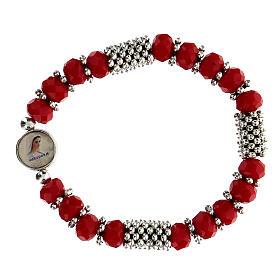 Pulsera rosario de cristal rojo de muelle s1