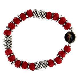 Bracelet chapelet en cristal rouge à ressort s2