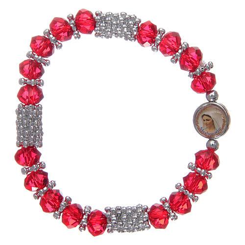 Bracelet chapelet en cristal rouge à ressort 1