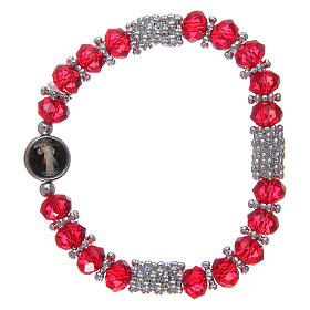 Bracciale rosario cristallo rosso a molla s2