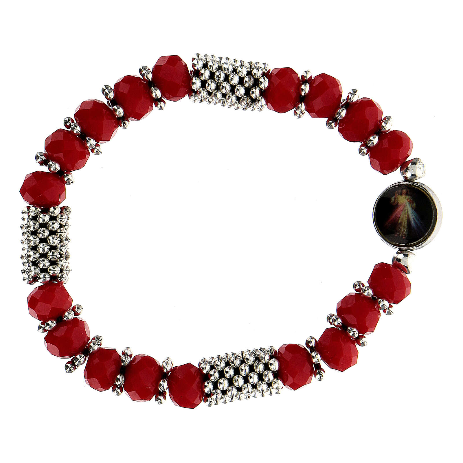 Rosary bracelet with spring and multifaceted red grains 4