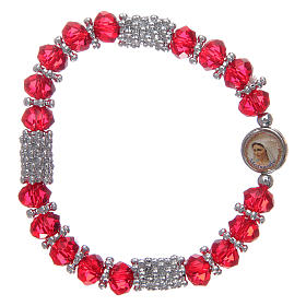 Rosary bracelet with spring and multifaceted red grains s1