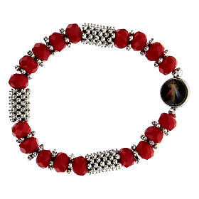 Rosary bracelet with spring and multifaceted red grains s2