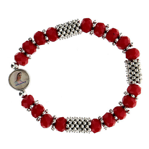 Rosary bracelet with spring and multifaceted red grains 1