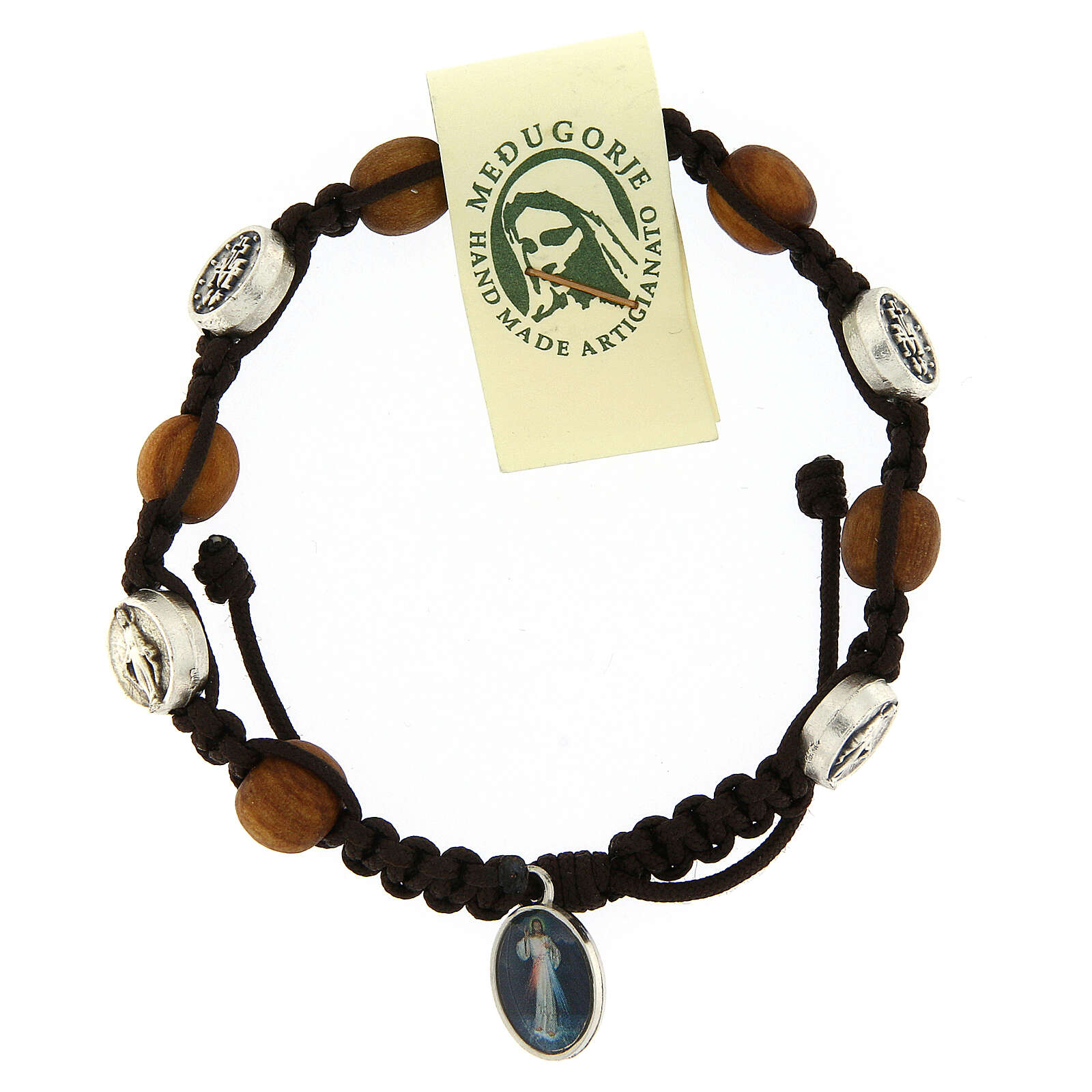 Bracelet in olive wood with Miraculous medalet 4
