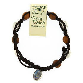 Bracelet in olive wood with Miraculous medalet s1