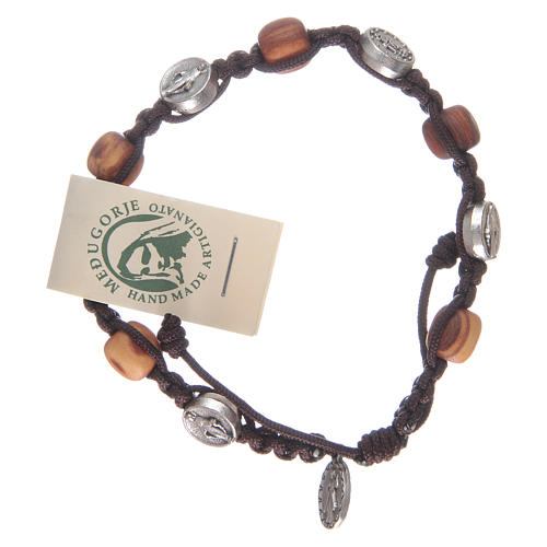 Bracelet in olive wood with Miraculous medalet 1