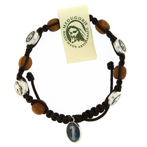 Bracelet in olive wood with Miraculous medalet 2
