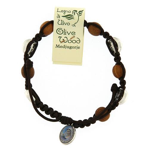 Pulsera de olivo con pequeña medalla milagrosa