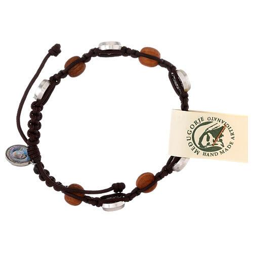 Bracelet en olivier avec médaille miraculeuse 2