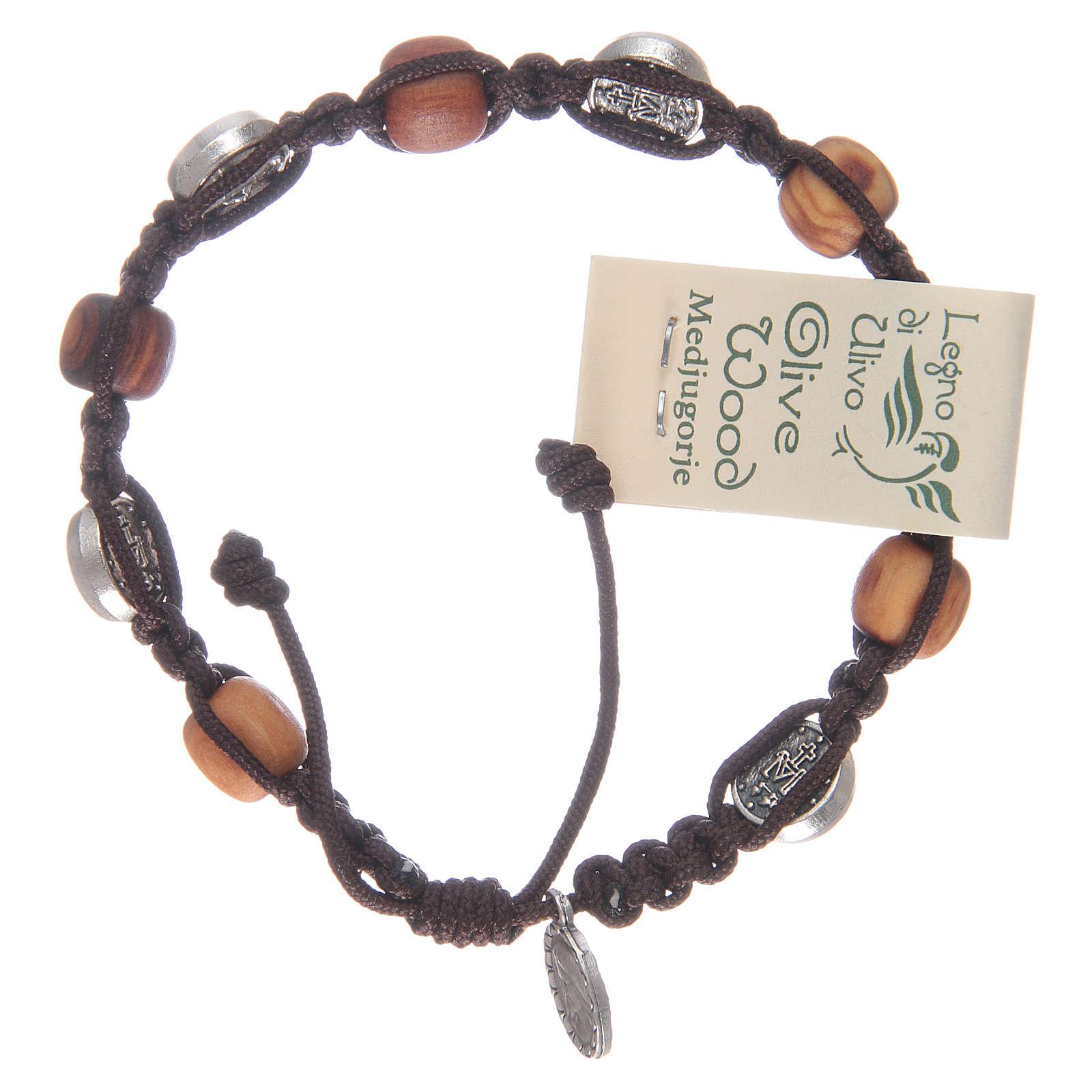 Bransoletka z drewna oliwnego z cudownym medalikiem 4
