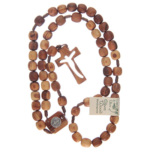 Rosario de madera de olivo y cruz tallada 4