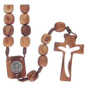 Chapelet en bois d'olivier et croix taillée s1