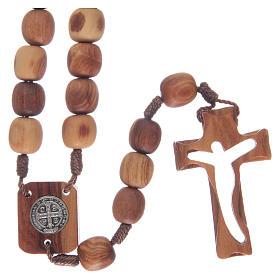Chapelet en bois d'olivier et croix taillée s2
