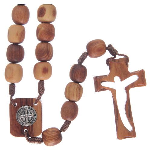 Chapelet en bois d'olivier et croix taillée 2