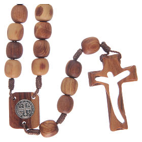Rosary in olive wood and carved cross s2