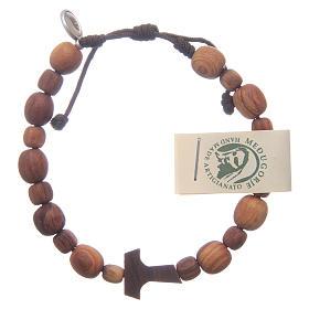 Bracelet en bois d'olivier avec tau s1