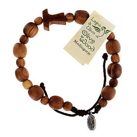 Bracelet en bois d'olivier avec tau s4