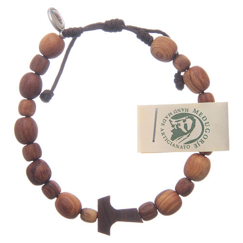 Bracelet en bois d'olivier avec tau 1