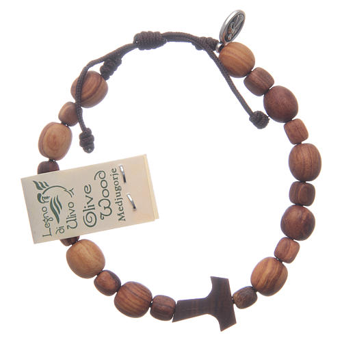 Bracelet en bois d'olivier avec tau 2