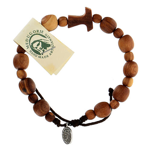 Bracelet en bois d'olivier avec tau 3