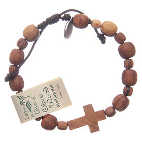 Bracelets, peace chaplets, one-decade rosaries: Bracelet in olive wood with cross