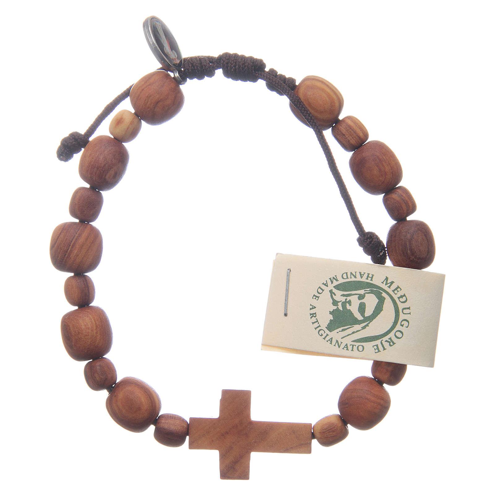 Bransoletka z drewna oliwnego z krzyżem 4
