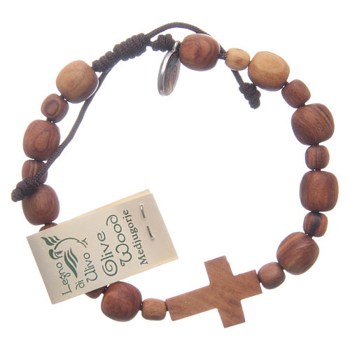 Bracelet in olive wood with cross 1