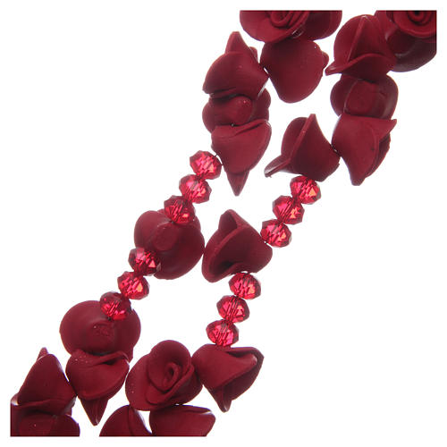 Rosario con rosas de cerámica de color rojo 3