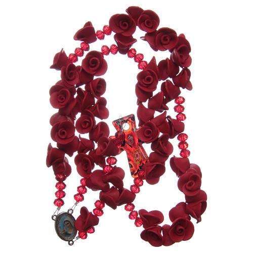 Rosario con rosas de cerámica de color rojo 4