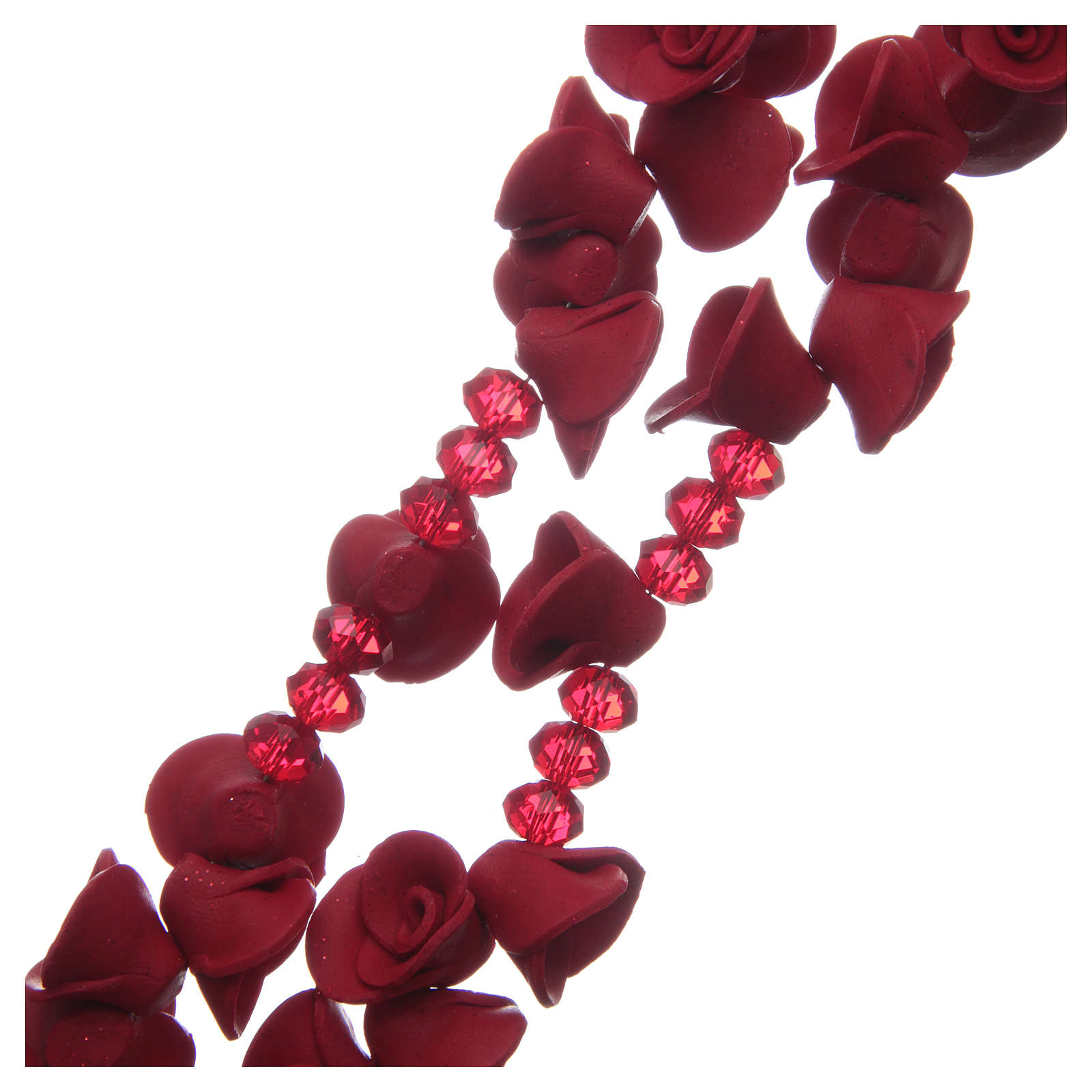 Chapelet avec roses en céramique couleur rouge 4