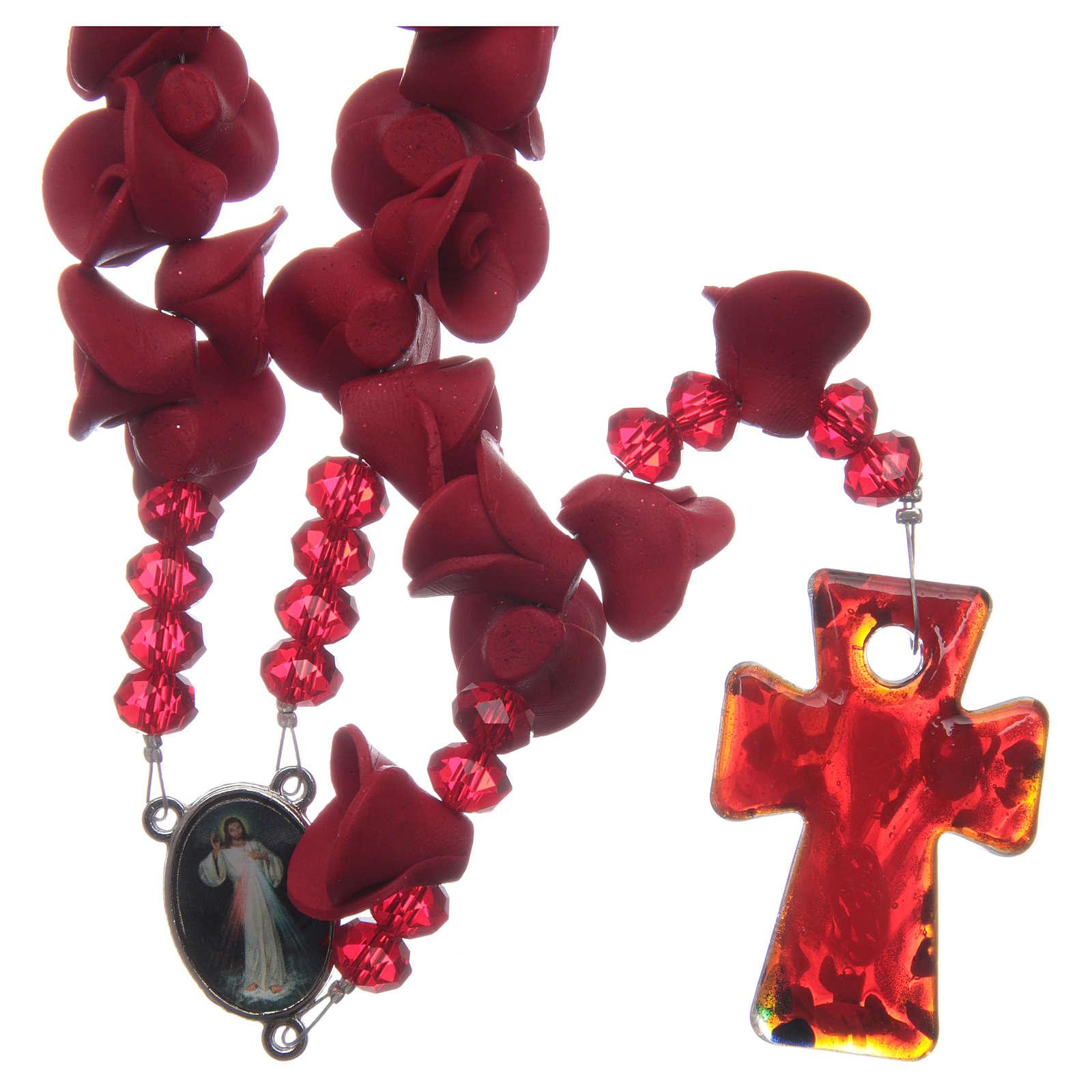 Rosario con roselline in ceramica di colore rosso 4