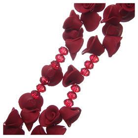 Rosario con roselline in ceramica di colore rosso s3