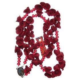 Rosario con roselline in ceramica di colore rosso s4