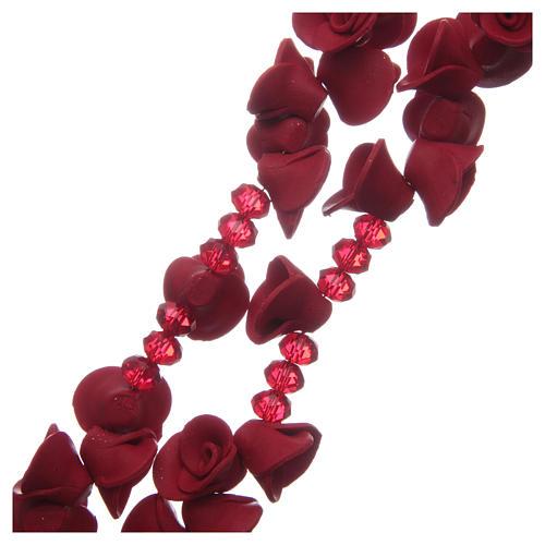 Rosario con roselline in ceramica di colore rosso 3