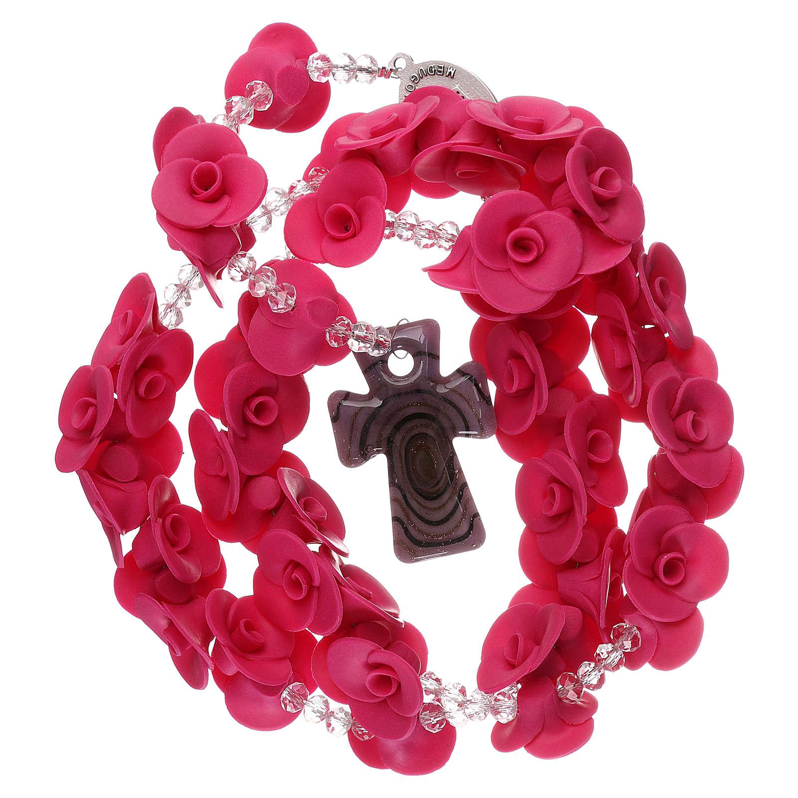 Rosario con rosas de cerámica de color fucsia 4