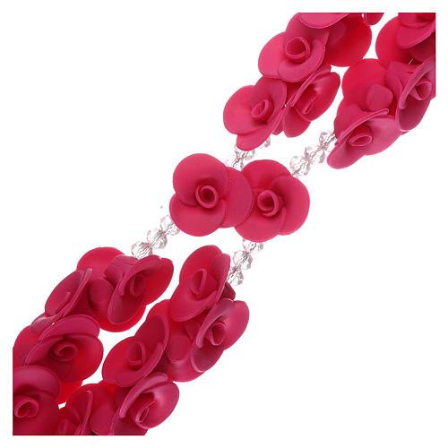 Rosario con rosas de cerámica de color fucsia 3
