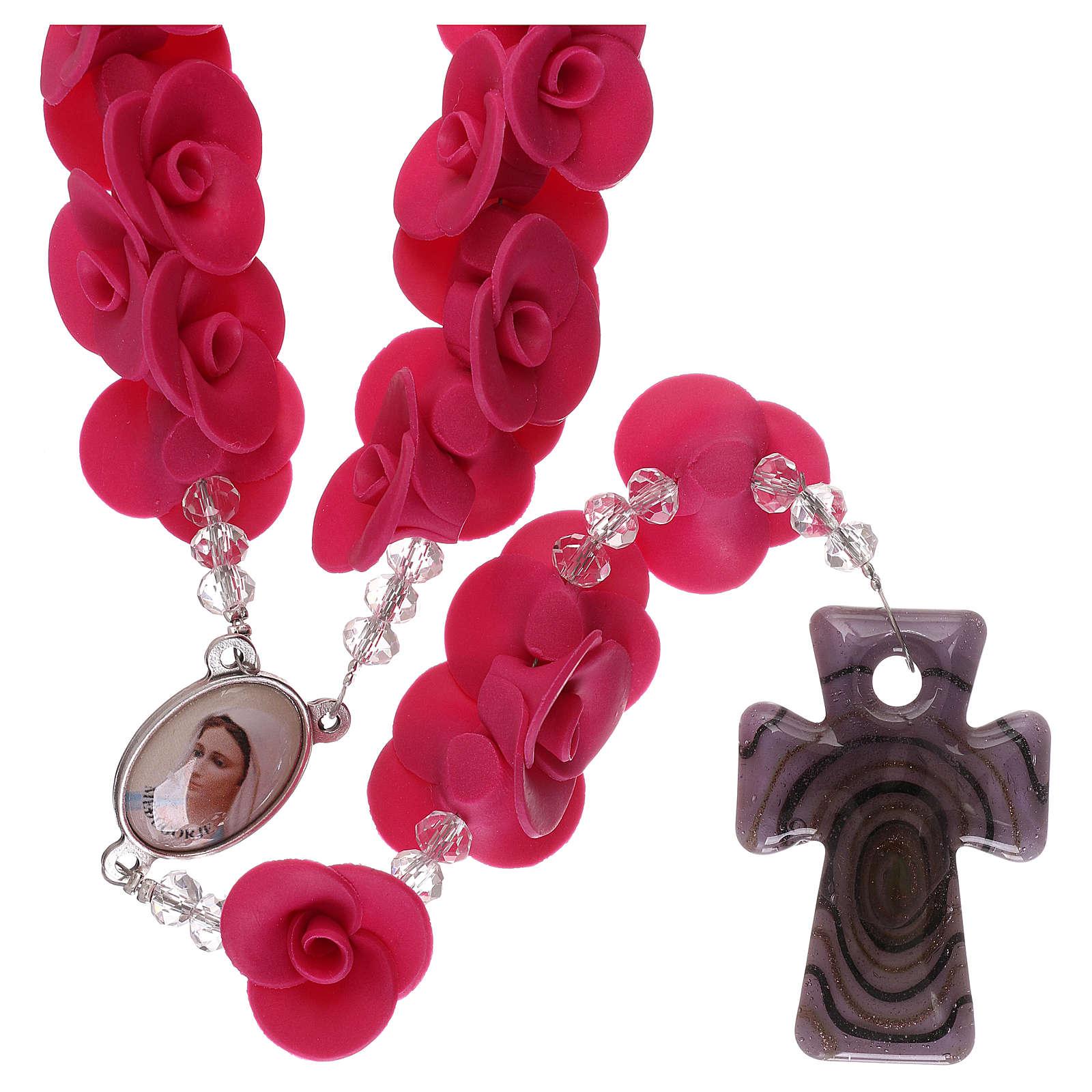 Chapelet avec roses en céramique couleur fuchsia 4