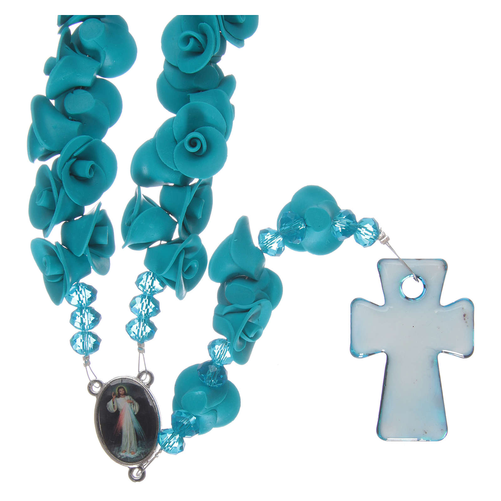 Rosario con roselline in ceramica azzurro 4