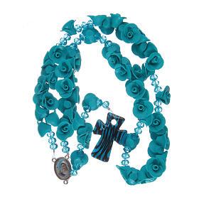 Rosario con roselline in ceramica azzurro s4