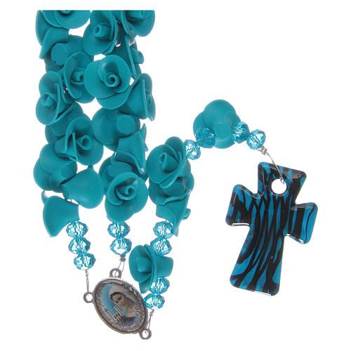 Rosario con roselline in ceramica azzurro 1