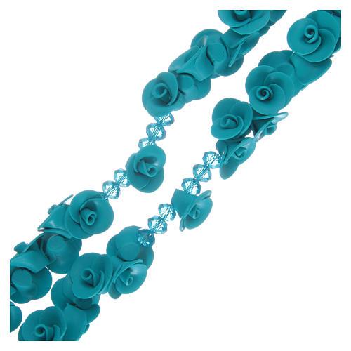 Rosario con roselline in ceramica azzurro 3