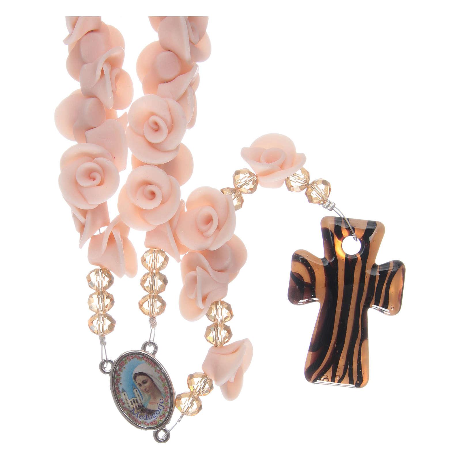 Rosario con roselline in ceramica rosa 4