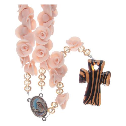 Rosario con roselline in ceramica rosa 1