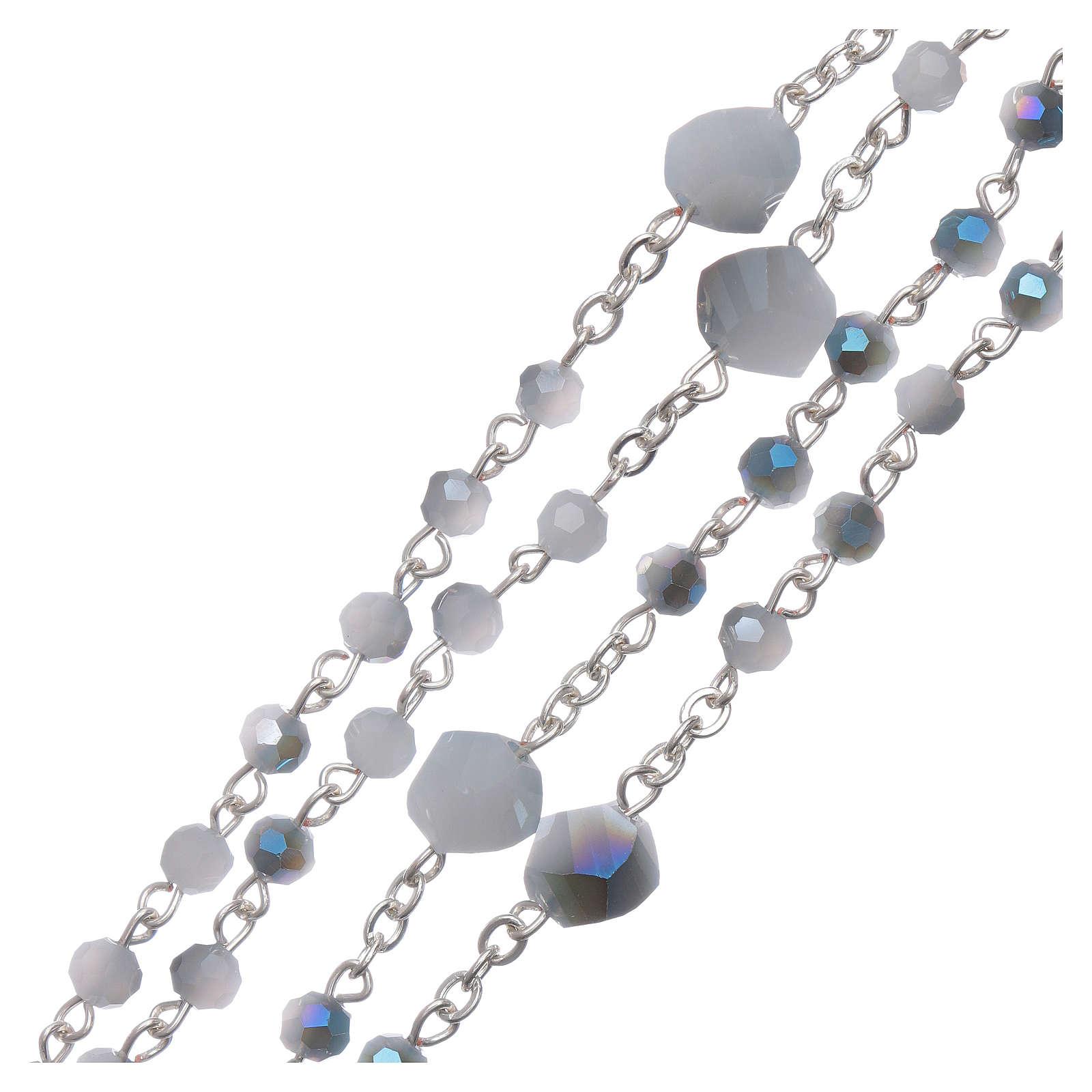 Rosario collana Medjugorje cristallo bianco azzurro 4 mm 4