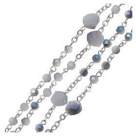 Rosario collana Medjugorje cristallo bianco azzurro 4 mm s3
