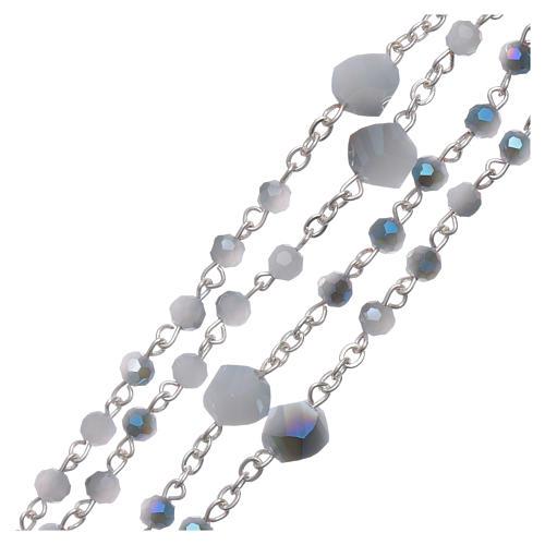 Rosario collana Medjugorje cristallo bianco azzurro 4 mm 3