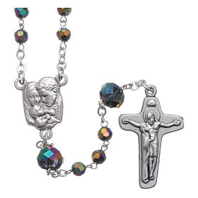 Medjugorje rosary necklace in iridescent crystal 4 mm s1